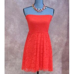 NEW Hollister Red Lace Strapless Dress Size S